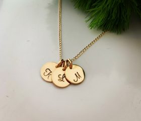 Yellow gold initial disc