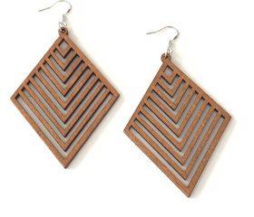 Wooden Diamond Earring