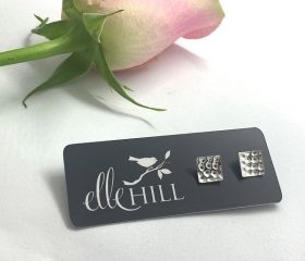 Sterling Silver Hammered Square Earrings