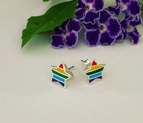 Sterling Silver Rainbow Star Earrings